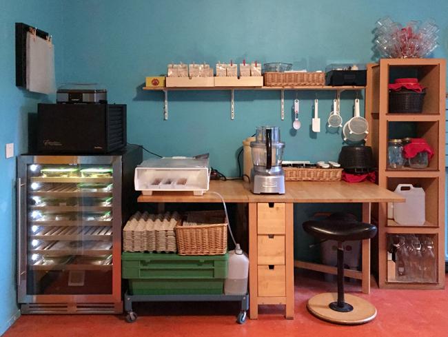 Foto van de nieuwe Zus&Zo kaas- & fermenteer-werkplek met onder andere kombucha, kefir, de kaaskoelkast, dehydrator, bokashi-bak, kiem-machine en yoghurtmaker.