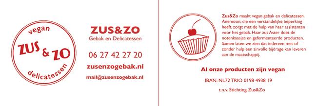 Jpg van het nieuwe ontwerp van het visitekaartje van Zus&Zo met logo, bedrijfsnaam, deze site/email en het nieuwe telefoonnummer: 06 27 42 27 20