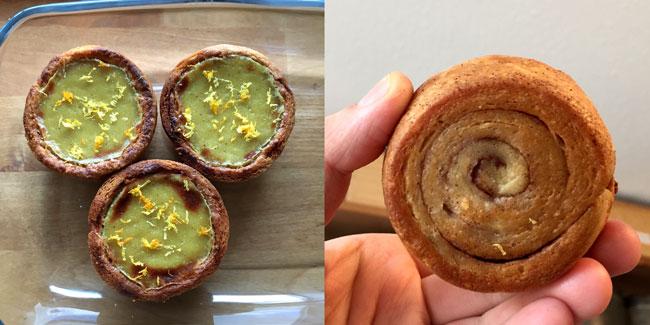 Foto van het bovenaanzicht van drie pastel de nata en een onderaanzicht van een taartje met de kenmerkende spiraal met kaneel.
