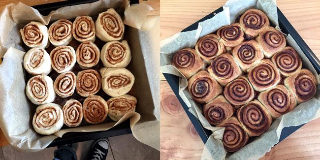 Foto van 1 bakvorm met ongerezen cinnamon buns, en 1 gebakken portie cinnamon buns.