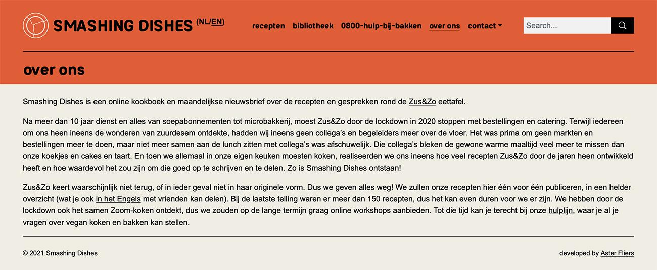 Screenprint van de Over Ons pagina van de Smashing Dishes website.